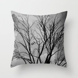 Black and White Crows Black Birds in a Tree Bokah Rustic A275 Throw Pillow