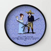 pride and prejudice Wall Clocks featuring Pride and Prejudice and Tacos by mikaelak