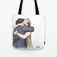 hug Tote Bags featuring Hug by Alessia Pelonzi