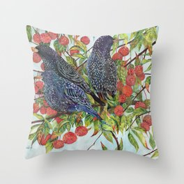 Starlings dogwood berries leaves branches Throw Pillow
