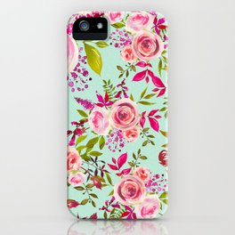 Watercolor pink violet lucite green modern floral iPhone Case