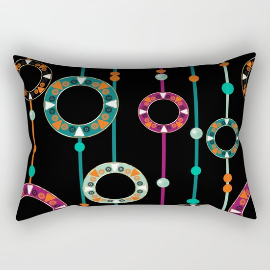 Abstract folk african pattern. Multi-colored circles rings. Rectangular Pillow