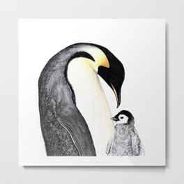 Emperor Penguin with Baby Metal Print