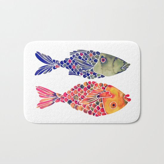 Indonesian Fish Duo – Navy & Coral Palette Bath Mat