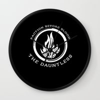 divergent Wall Clocks featuring Divergent - The Dauntless by Lunil