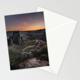 Sunset at Meteora Stationery Cards