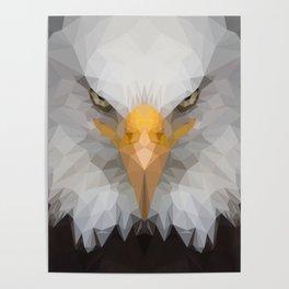 Low Poly Eagle Portrait Poster