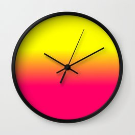 Neon Pink and Neon Yellow Ombré Shade Color Fade Wall Clock