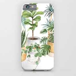 Watercolor house plants potted plants iPhone Case
