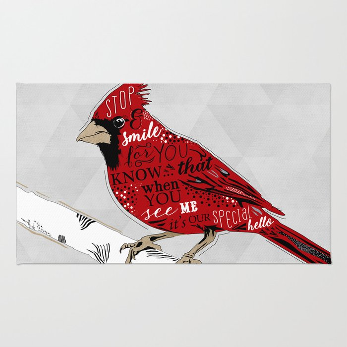 Cardinal Bird Lost Loved One Visiting Rug
