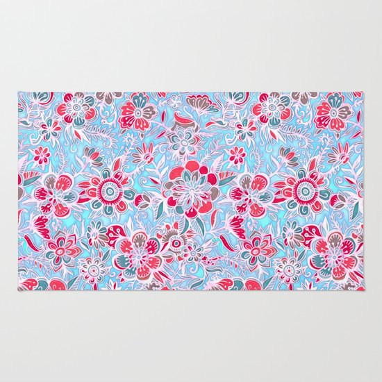 Sweet Spring Floral - cherry red & bright aqua Rug