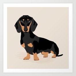 Dachshund doxie pet portrait hot dog weener dog breed funny small dogs puppy gifts for dachshund  Art Print