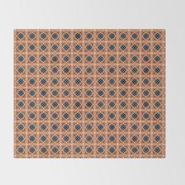 Barcelona tile red octagonal pattern Throw Blanket