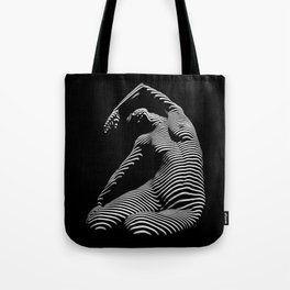 0077s-DJA Abstract Photograph of Seated Woman Striped by Light and Shade Tote Bag