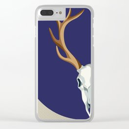 Chamanic blue deer skull - best profile Clear iPhone Case