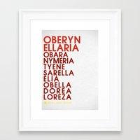 martell Framed Art Prints featuring Oberyn Martell Typography series II by P3RF3KT