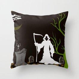Grim Reaper Cemetary Throw Pillow