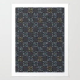 Gray Abstract Chequered Grid Art Print