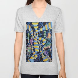 Watercolor Artwork Luminescence in Pop Surrealism Contemporary Style Unisex V-Neck