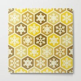 Yellow and Brown Honeycomb Christmas Nordic Snowflake Design Metal Print