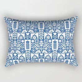 Swedish Folk Art - Blue Rectangular Pillow