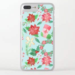 Merry Christmas Pattern (Blue Background) Clear iPhone Case