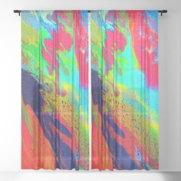 Abstract glitter art landscape painting Sheer Curtain