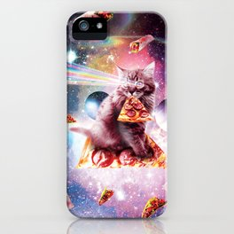 Outer Space Pizza Cat - Rainbow Laser, Taco, Burrito iPhone Case