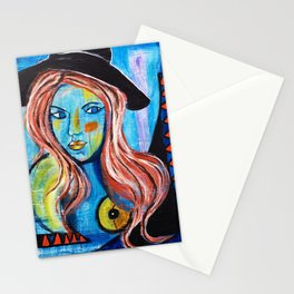 Blue Lady With Hat Stationery Cards
