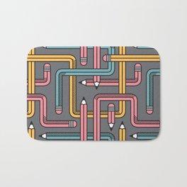 Pencil Maze Pattern pastel grey multi Bath Mat