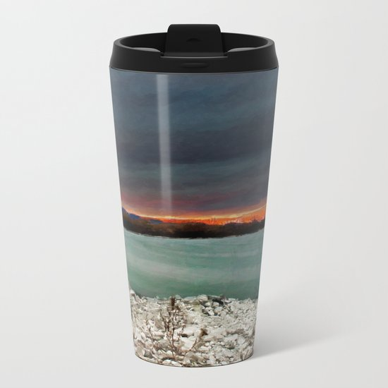 Sunset on the riverside Metal Travel Mug