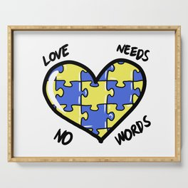 Down Syndrom Awareness Support Trisomy Puzzle Gift Serving Tray