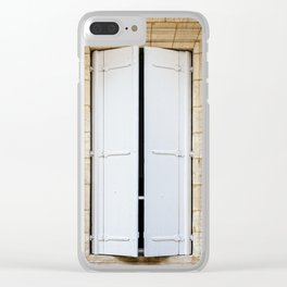 Old fashioned window with shutters Clear iPhone Case
