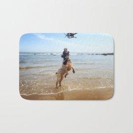 Brown Roan Italian Spinone at the beach Bath Mat