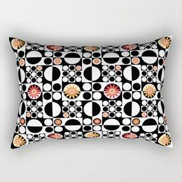 Mod Flower Power Pattern - Red Yellow Rectangular Pillow