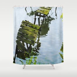 We Used To Fish Here | Lake Jetty Dock Pier - Watercolor Painting Shower Curtain