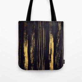 Gold Foil Paint Brush Vertical Stripes Tote Bag