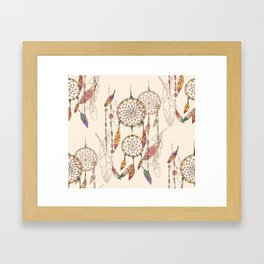 Bohemian dream catcher with beads and feathers Framed Art Print