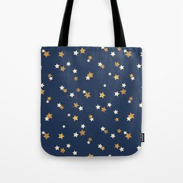 Navy blue faux gold glitter elegant starry pattern Tote Bag
