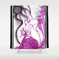 romance Shower Curtains featuring Romance by Gina Miranda Art