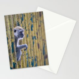 monkey behind colorful bars Stationery Cards