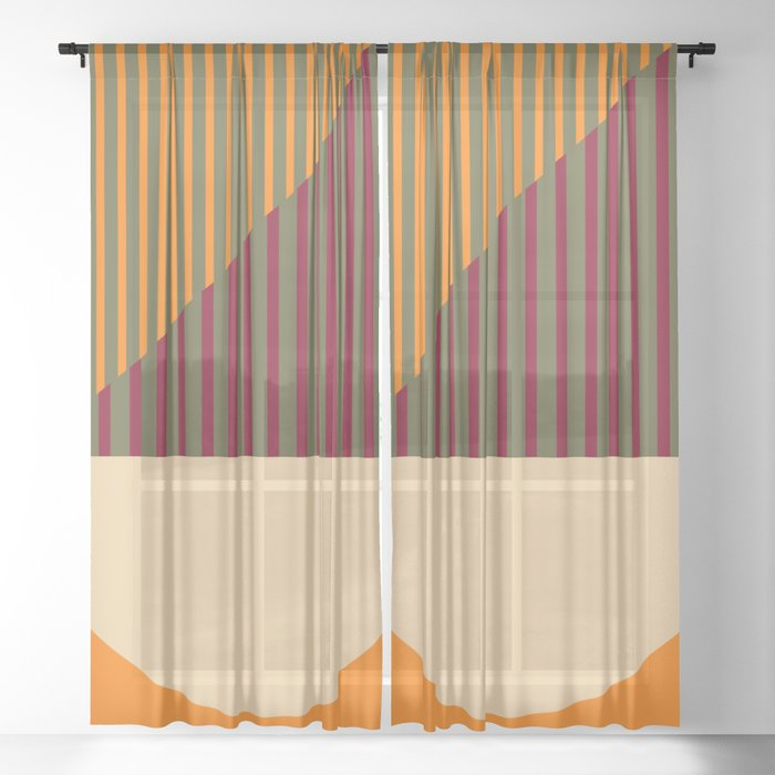 Geometric Abstract - Spring-Pantone Warm color Sheer Curtain
