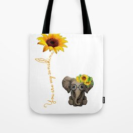 You Are My Sunshine Hippie Sunflower Elephant Tote Bag