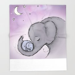 Goodnight Elephants Throw Blanket