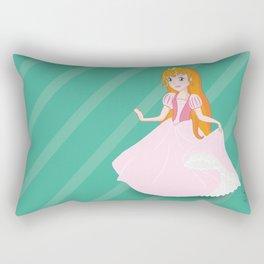 A princess drawing with light pink dress red hair and golden crown Rectangular Pillow