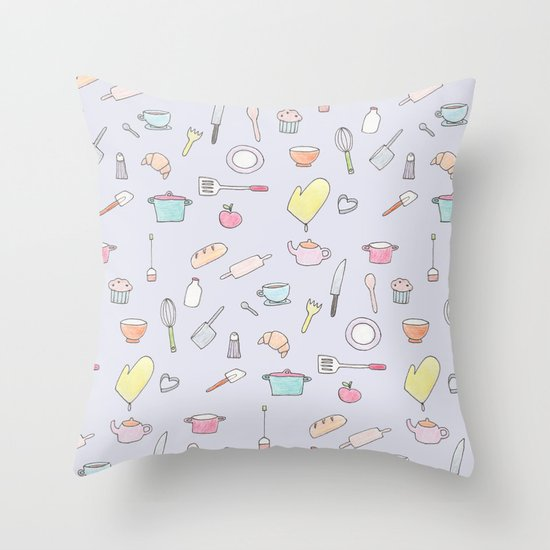 Cooking Pattern Throw Pillow