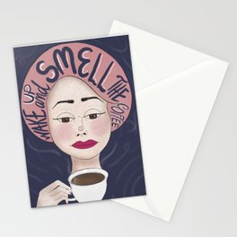 Wake Up -Lettering,  Drinking, Coffee Cup Stationery Cards