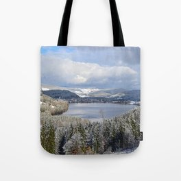 first snow on autumn leaves Tote Bag