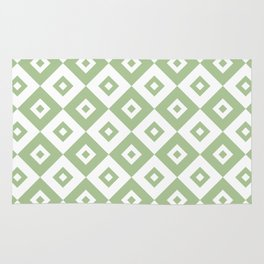 Diamond Check Pattern Sage Green Rug