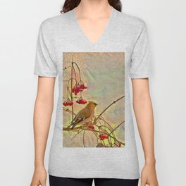 Bird waxwing Unisex V-Neck